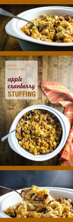 Apple Cranberry Stuffing - a healthier version of a Thanksgiving favorite recipe - who knew a vegan gluten-free stuffing could taste so good? | VeggiePrimer.com