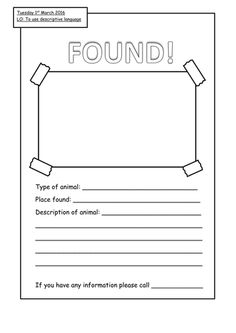 3 Week Literacy Unit   Lost And Found Intended For Found Poster Template