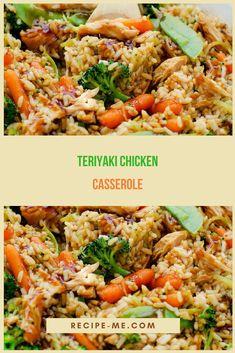 TERIYAKI CHICKEN CASSEROLE Healthy Teriyaki Chicken, Teriyaki Chicken Casserole, Casserole Dishes, Casserole Recipes, Asian, Healthy Recipes, Meal Recipes, Yummy Recipes, Kitchens