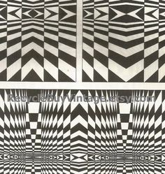 vintage 1970's optic illusion pattern art print book plate black & white pop art design retro home decor mod geometric picture wall 43 44 by RecycleBuyVintage on Etsy