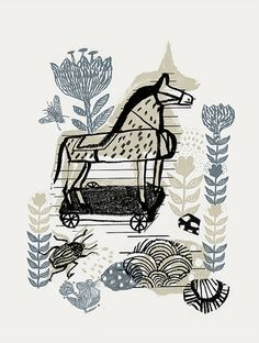 cornelia o'donovan, horse toy, print, layer, design, drawing, ink, colour, illustration, pattern, design, print