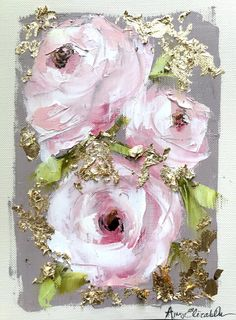 oil painted pink roses on a folded canvas card with a gold background. Flower Painting Canvas, Acrylic Painting On Paper, Acrylic Painting Techniques, Oil Painting Flowers, Abstract Flowers, Art Oil, Pink Roses, Flower Art, Cool Art