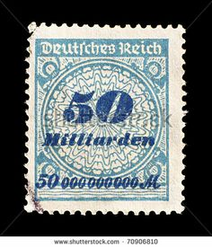 : GERMANY - CIRCA 1923: old German postage stamp shows the inflation during the Deutsches Reich, value 50 billions marks, Germany, circa 1923.