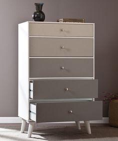 Gray Scale Color Block Five-Drawer Dresser