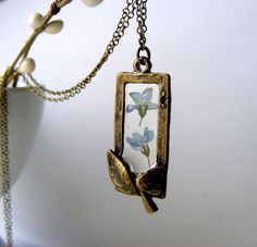 Framed forget me not pendant | The Autumn Orchard, Folksy