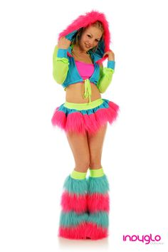 Oh, I totally would..Lol  Electrik Pink Pogo Fur Rave Outfit - £69.99 - Only from Indyglo Clubwear.