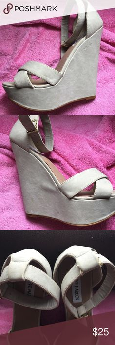Steve Madden Xenon Wedge Fabulous nude wedges! Worn for my wedding! There are signs of wear (and a pesky kitten) all pictured! No damage is obvious while wearing! Shoes Wedges