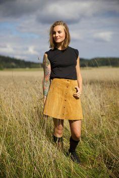 Boho-vintage-suede-skirt