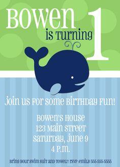 Whale Themed Birthday Invite Boy Printable. $6.00, via Etsy.