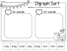 February Printable Packet - Kindergarten Literacy and Math. Digraph Sort for Valentine's Day.