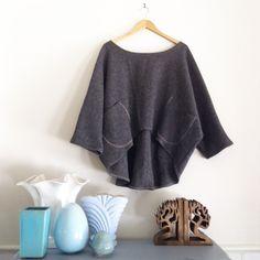 Custom - Woollen Windcheater in grey wool short style by smallforestshop on Etsy