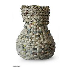 NOVICA Recycled newspaper vase (€135) ❤ liked on Polyvore featuring home, home decor, vases, african home decor, novica, african vases and novica home decor