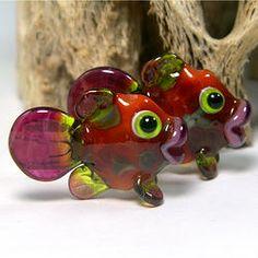 Salsa Colors Lampwork Fish Bead Pair