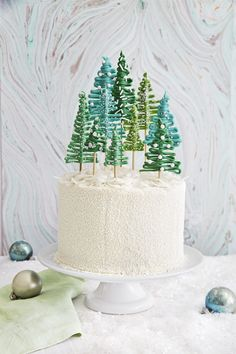 These Gorgeous Christmas Cakes Are Just What Your Holiday Dessert Spread Needs Pine Tree Forest Cake Christmas Desserts, Christmas Treats, Christmas Baking, Christmas Fun, Homemade Christmas, Christmas Recipes, Beautiful Christmas, Christmas Manger, Xmas