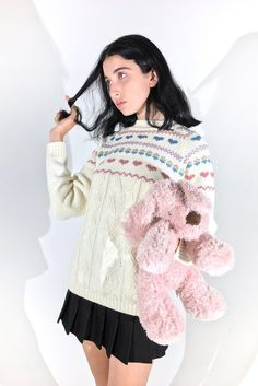 ALICE SWEATER    SHOP HERE: https://www.goodbyebread.com/collections/internet-girl/products/alice-sweater #goodbyebread #internetgirl #photoshoot #vintage #xmas #cream #knitted #sweater #long #sleeves #high #neckline #blue #pink #hearts #linear #pattern #winter #black #pleated #mini #skirt #festive #look #pink #teddy #bear