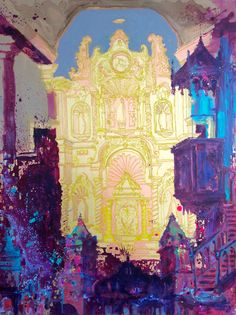 painting of the golden alter and the pulpit of the San Jose church in the Old Quarters of Panama - modern painting contemporary art - mixed media over canvas - IG @gabewong1