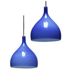 Pair of Blue Pendants by Venini Murano