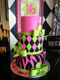 Sweet 16 Topsy Birthday Cake by Designer Cakes By April