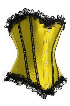 Elegante corset satinado strapless y con sexys adornos negros de encaje.   Incluye tanga a juego.  Disponible en amarillo y azul. Precio $25.99. ENVÍO GRATIS A TODO EL MUNDO. Mas información y tallas en este enlace.