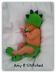 Ravelry: Dinosaur Baby Hat and Diaper Cover Set pattern by Amy B Stitched free pattern