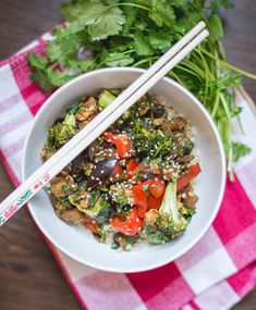 Asian Eggplant Broccoli and Tempeh. Asian Eggplant and Broccoli with Tempeh over Rice - A complete meal full of flavor and veggies! Asian Recipes, Healthy Recipes, Ethnic Recipes, Vegetarian Recipes, Vegan Meals, Healthy Foods, Yummy Recipes, Dinner Recipes, Yummy Food