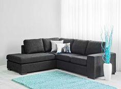 ADA kulma-avopääty mustalla Diana-kankaalla.  ADA-sohvat rentoon sisustamiseen, sohvilla on 2 vuoden runkotakuu. Laulumaa Huonekalut