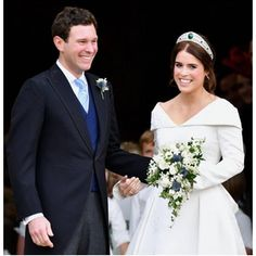 Beautiful Royal Bride: Princess Eugenie of York. All the details about Princess Eugenie wedding dress and wedding tiara. Princess Marie Of Denmark, Princess Victoria Of Sweden, Princess Charlene, Crown Princess Victoria, Princess Madeleine, Sarah Ferguson, Royal Brides, Royal Weddings, Katie Holmes