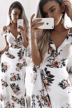 cold shoulder floral dresses, floral dresses, white floral dresses, v back dresses, maxi dresses, floral slit dresses