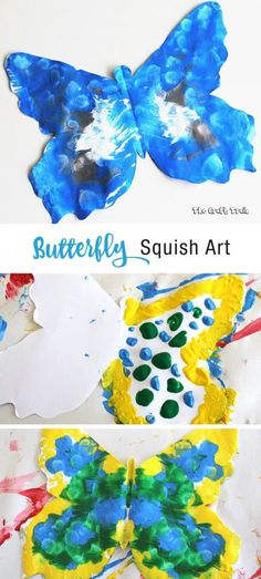 Butterfly squish art - an easy butterfly process art and printing activity for kids. This makes a fun Spring craft idea and includes printable template crafts symmetry butterfly squish art Spring Art Projects, Spring Crafts For Kids, Summer Crafts, Projects For Kids, Craft Projects, Toddler Art Projects, Preschool Crafts, Kids Crafts, Process Art Preschool