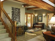 Love this wall color w/ the wood trim!