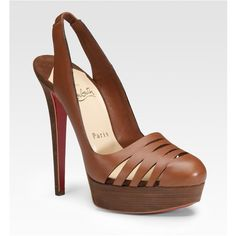 Christian Louboutin - Laser-cut Leather Slingbacks in brown (cognac) | Lyst found on Polyvore
