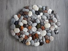Wood Flooring with Colored Felt Pebble containing: White with Gray also Brown