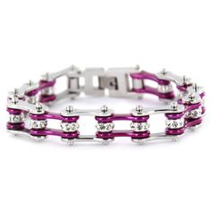 """1/2"""" Wide Two Tone Silver & Candy Purple with crystal centers motorcycle chain. Buy Silver & Candy Purple Bike Chain Bracelet with Crystals online for the best price of $29.95."""