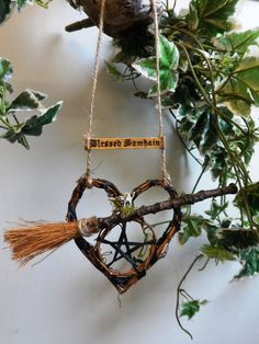 Samhain Pentacle& Oak Besom Broom Heart With by PositivelyPagan