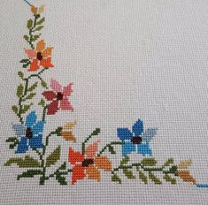 Vintage Embroidered Table Linen, cross stitched embroidery of flowers, round vintage tray cloth Cross Stitch Heart, Cross Stitch Borders, Cross Stitch Alphabet, Cross Stitch Flowers, Cross Stitch Designs, Cross Stitching, Cross Stitch Embroidery, Hand Embroidery, Cross Stitch Patterns