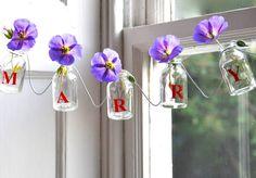 Personalised Mini Glass Bottle Garland