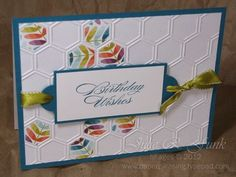Island Indigo is the main contrast color, and it looks so bright with the new DSP, Sycamore Street, something to look forward to from the new Sale-A-Bration flyer that starts today! I used one of the dies from Apothecary Accents and punched holes in the 1/2 circle to make a perfect sentiment plate. Tying it on with the matching ribbon just brings it all together so nicely. A cheery card for the next person on the birthday list. Have fun and happy stamping !!
