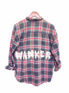British Wanker Shirt in Bleached Plaid Flannel. Grunge clothing and one of a kind clothes at bambiandfalana.com