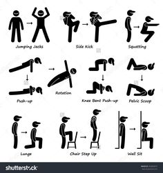 Illustration of Body Workout Exercise Fitness Training Set 1 Stick Figure Pictogram Icons vector art, clipart and stock vectors. Home Exercise Program, Home Exercise Routines, At Home Workout Plan, Workout Programs, At Home Workouts, Butt Workouts, Glute Exercises, Training Workouts, Dumbbell Workout