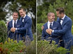 two sweet grooms holding hands at their monument provincetown wedding.  wedding planned by www.14stories.com #gayweddings #gaywedding #lgbtwedding