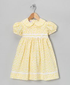 Take a look at this Yellow Puff-Sleeve Dress - Infant, Toddler & Girls by SIMI on #zulily today!