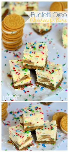 These Funfetti Oreo Cheesecake Bars prove that cheesecake CAN be fun! | MomOnTimeout.com #CookUpCozy #spon