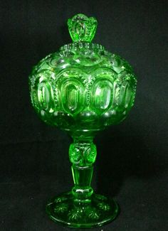 """Vintage Green Depression Glass 8 1/2"""" Pedestal Candy Dish With Lid"""