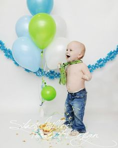 first birthday green and blue boy