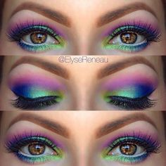 If you're off to a summer festival, light up the party with these Northern Lights eyes. #makeup #summerfestival #eyemakeupcrazy