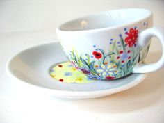 Hand painted cup and saucer set  Not Only Grass  wild by roootreee, £14.00