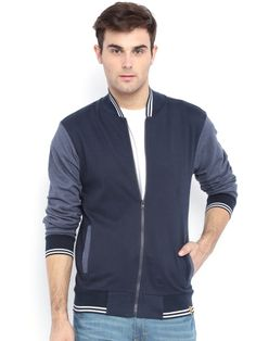 Campus Sutra Full Sleeve Solid Men's Jacket Winter Wear For Men, Jackets Online, Blue Denim, Bomber Jacket, Navy, Long Sleeve, Casual, Cotton, Mens Tops