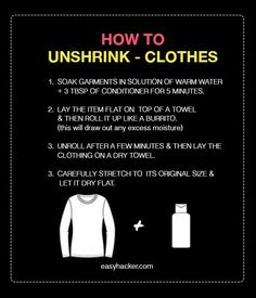 cool How to Unshrink your Clothes