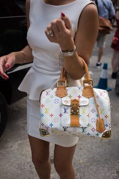 96fa3d6a210c White peplum dress and LV Multicolore Speedy Bag - Love these two items  together!