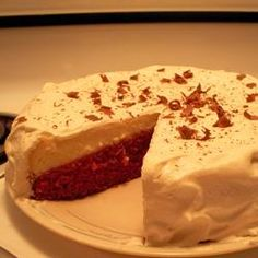Oh. My. Lanta. Looks perfect for a Christmas dessert! Red Velvet Cheesecake Allrecipes.com